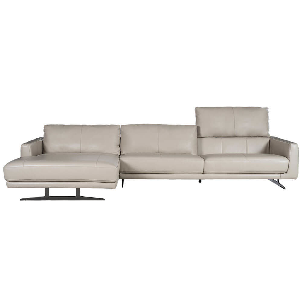 L-shaped Rozel Gold Silver Grey Leather Sofa