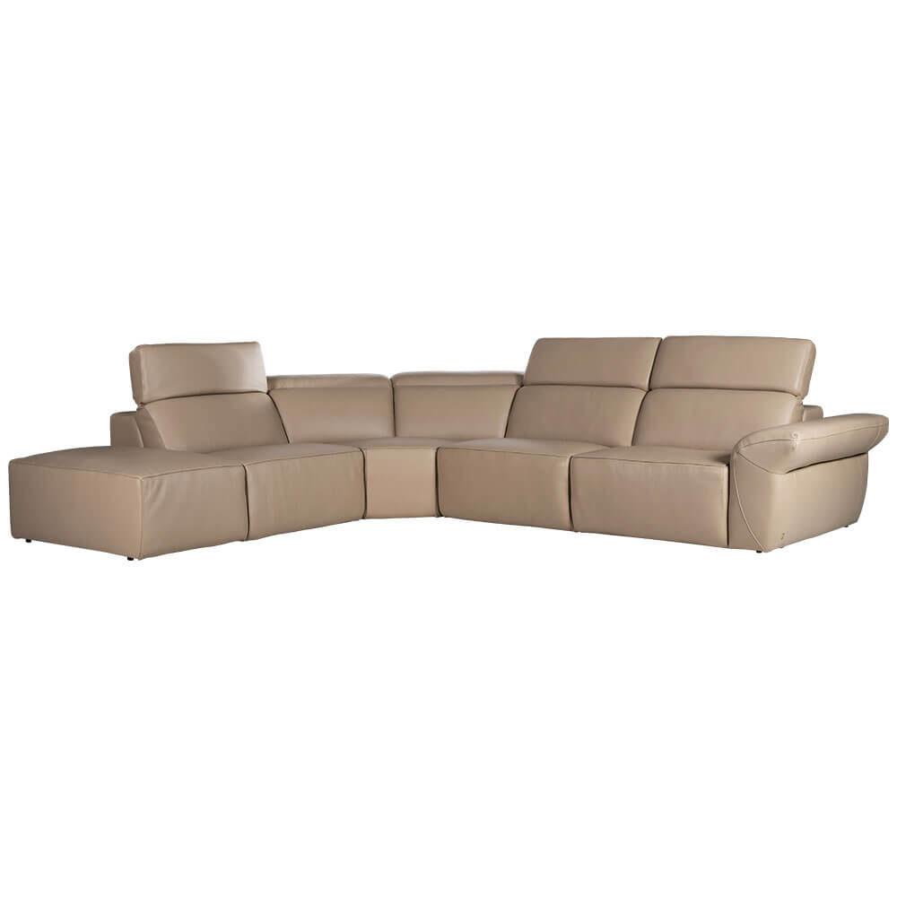 L-shaped Rozel Gold Beige Leather Sofa
