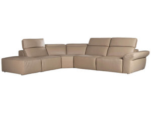 L-shaped Rozel Gold Beige Leather Sofa