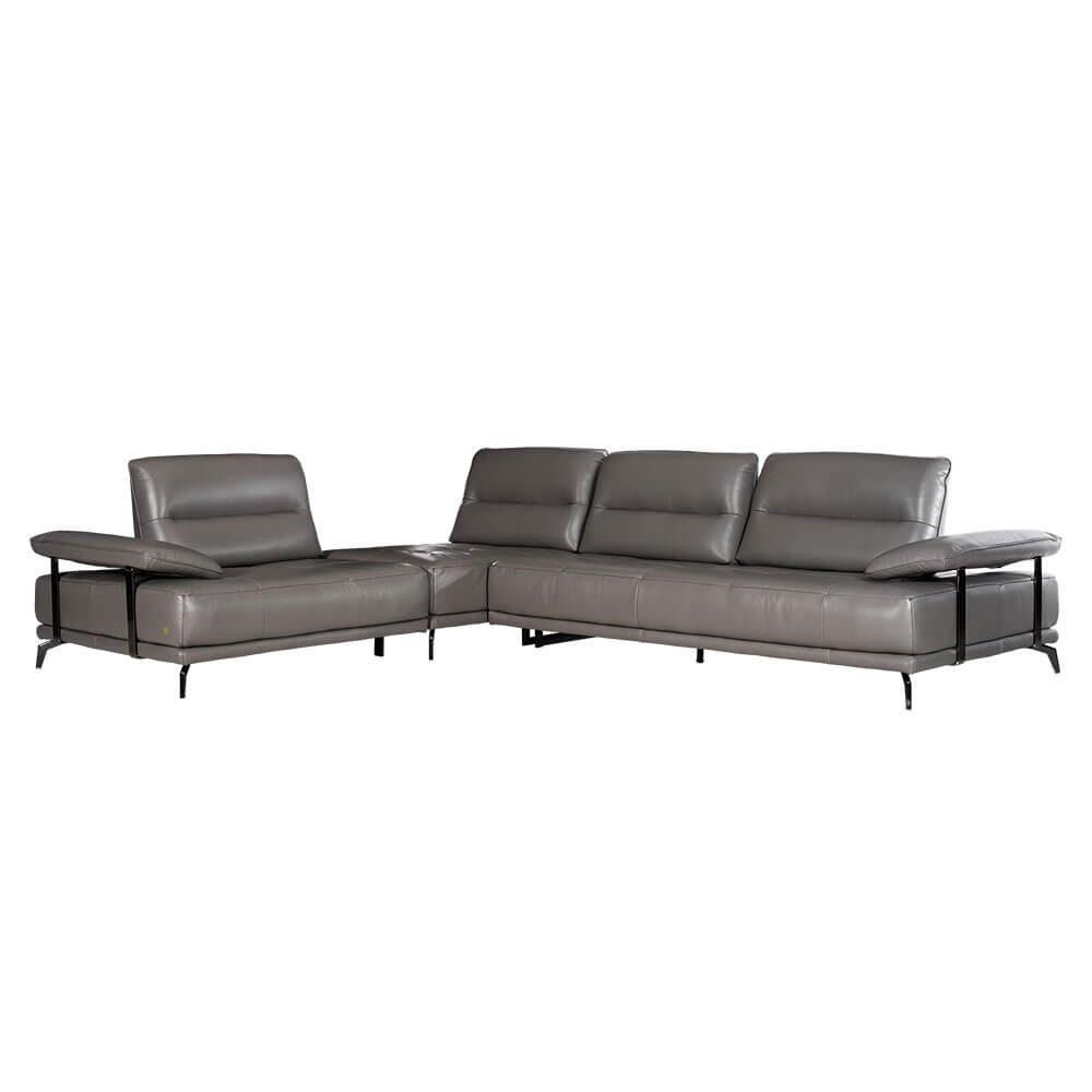 L-shaped Rozel Gold Leather Sofa