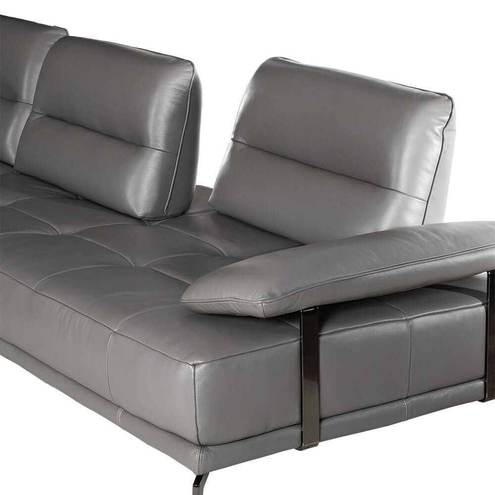L-shaped Rozel Gold Grey Leather Sofa