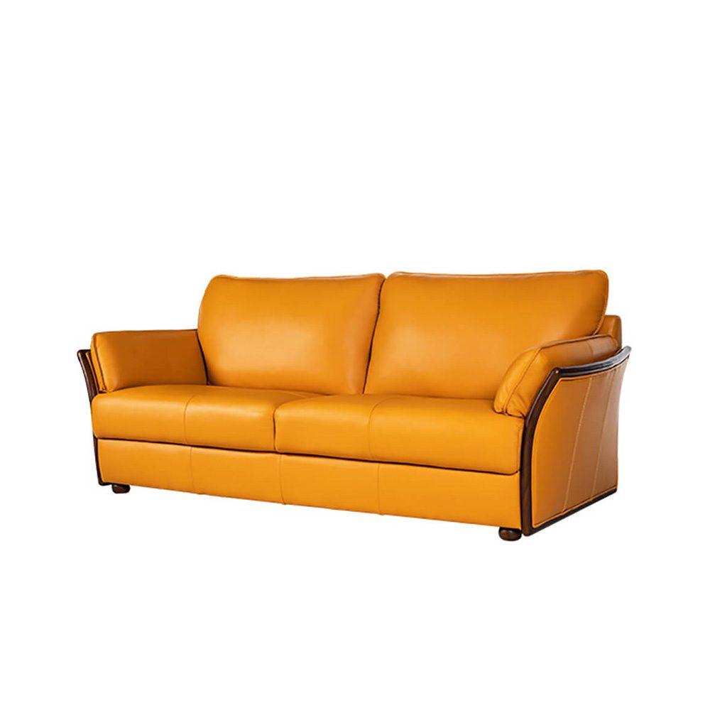 Rozel Gold Mustard Leather Sofa Living room