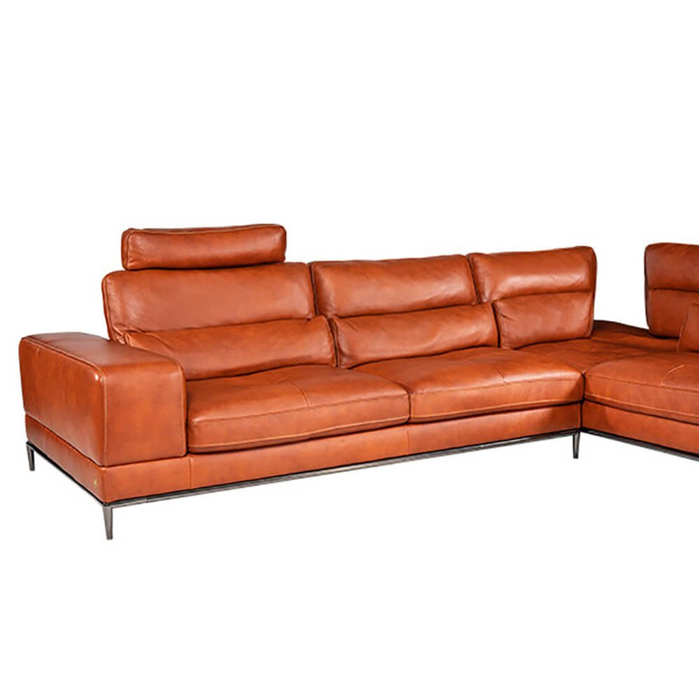 L-shaped Rozel Gold Brown Leather Sofa