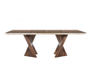 Rozel Khayu Walnut Coffee Travertine Dining Table Top
