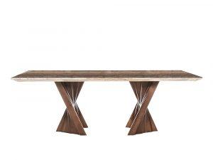 Rozel Khayu Walnut Coffee Travertine Dining Table Top