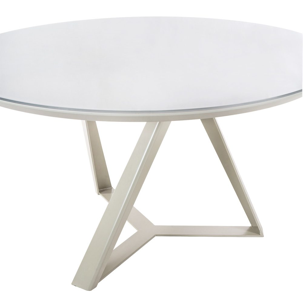 Rozel Tempered Glass Top Cappucino Base Dining Table