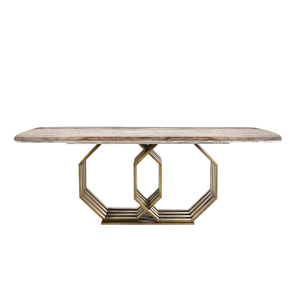 Rozel Brown Marble Top Dining Table Geometrical Base