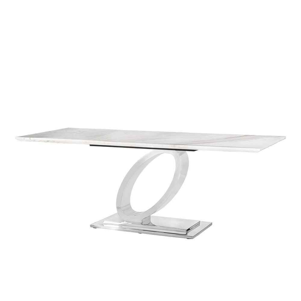 Rozel Jazz White Marble Top Dining Table Ring Base