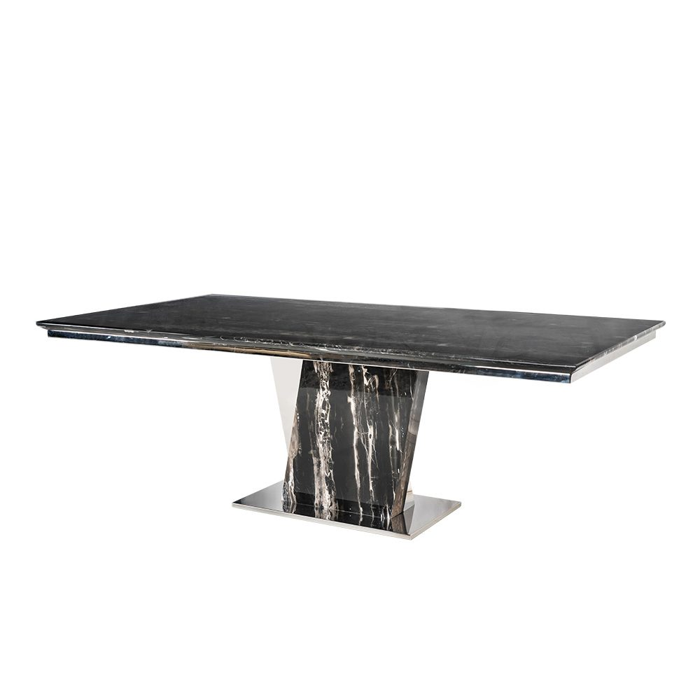 Rozel Glossy Silver Dragon Marble Top Black Dining Table