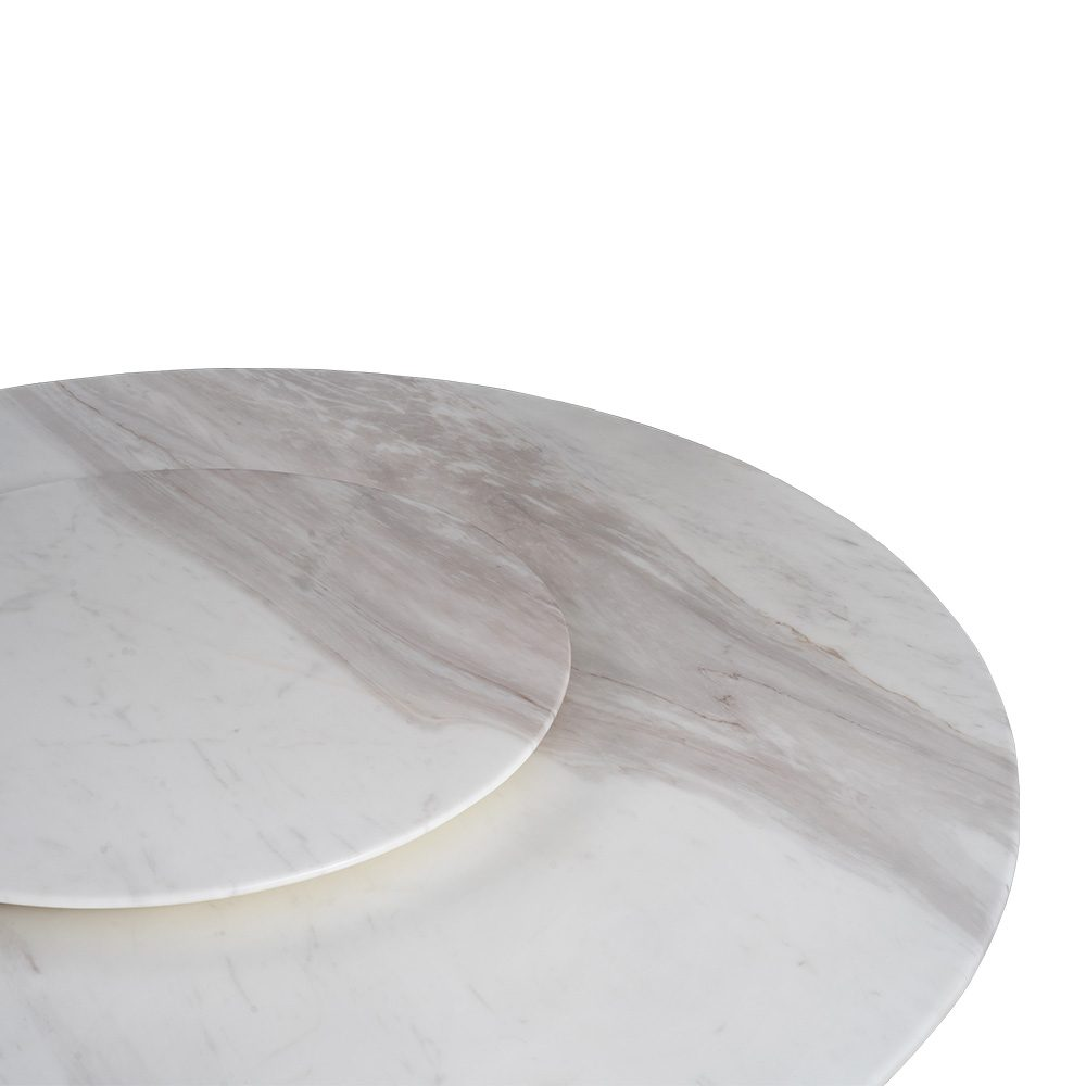 Rozel White Marble Top Lazy Susan Dining Table