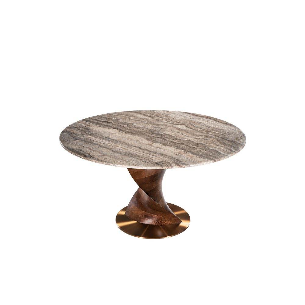 Rozel Khayu Noche Travertine Marble Dining Table Top