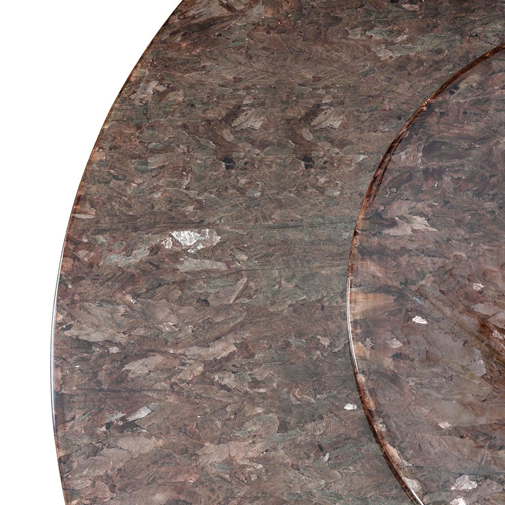 Rozel Tobacco Crystal Stone Top Lazy Susan Dining Table