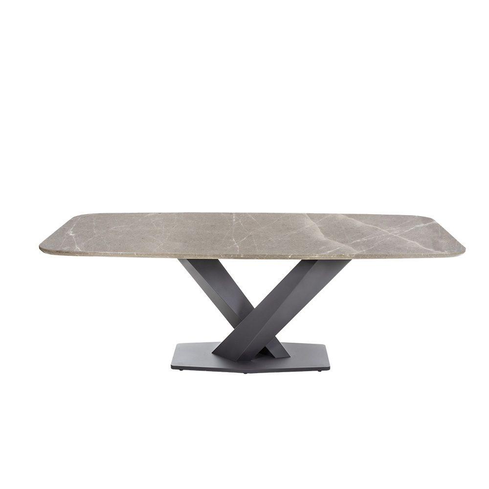 Rozel Oriental White Marble Top Dining Table Graphite Base