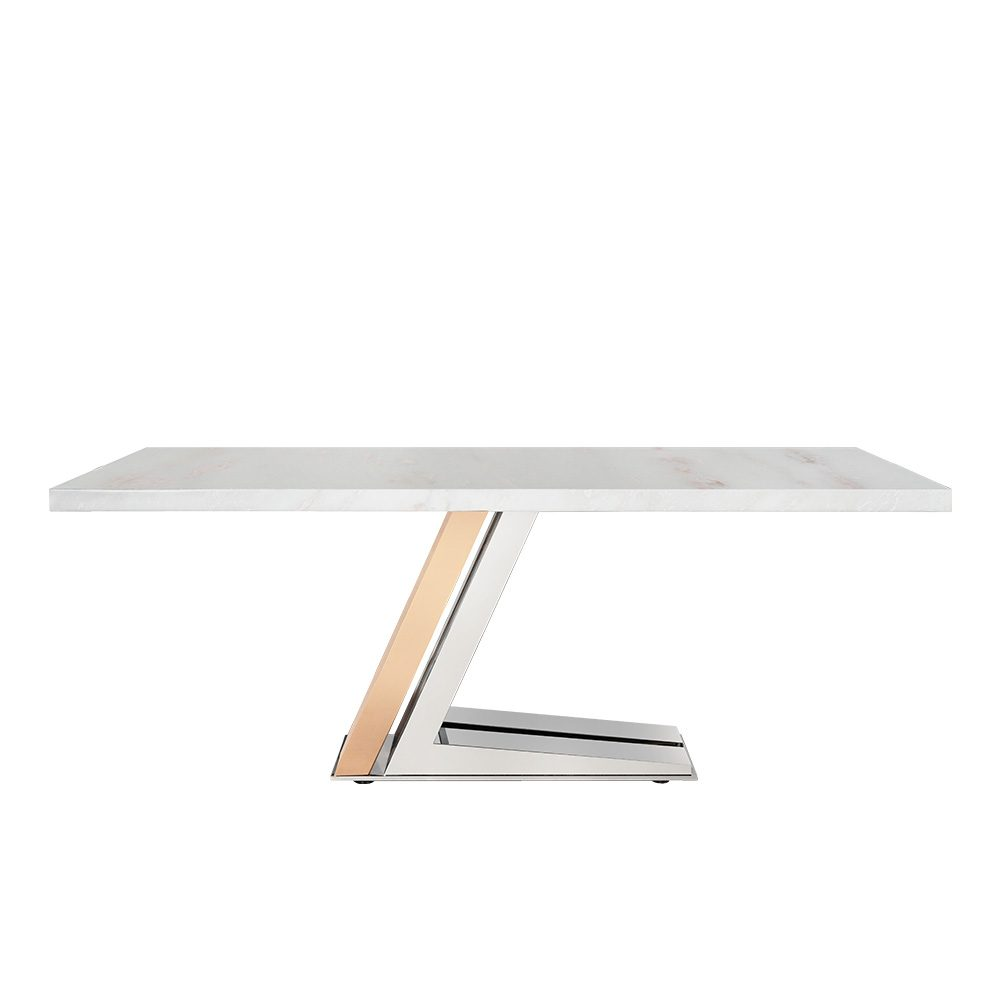 Rozel Chrome Rose Gold White Marble Top Dining Table
