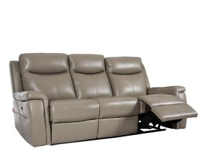 Rozel Power Recliner Light Stone Leather Sofa