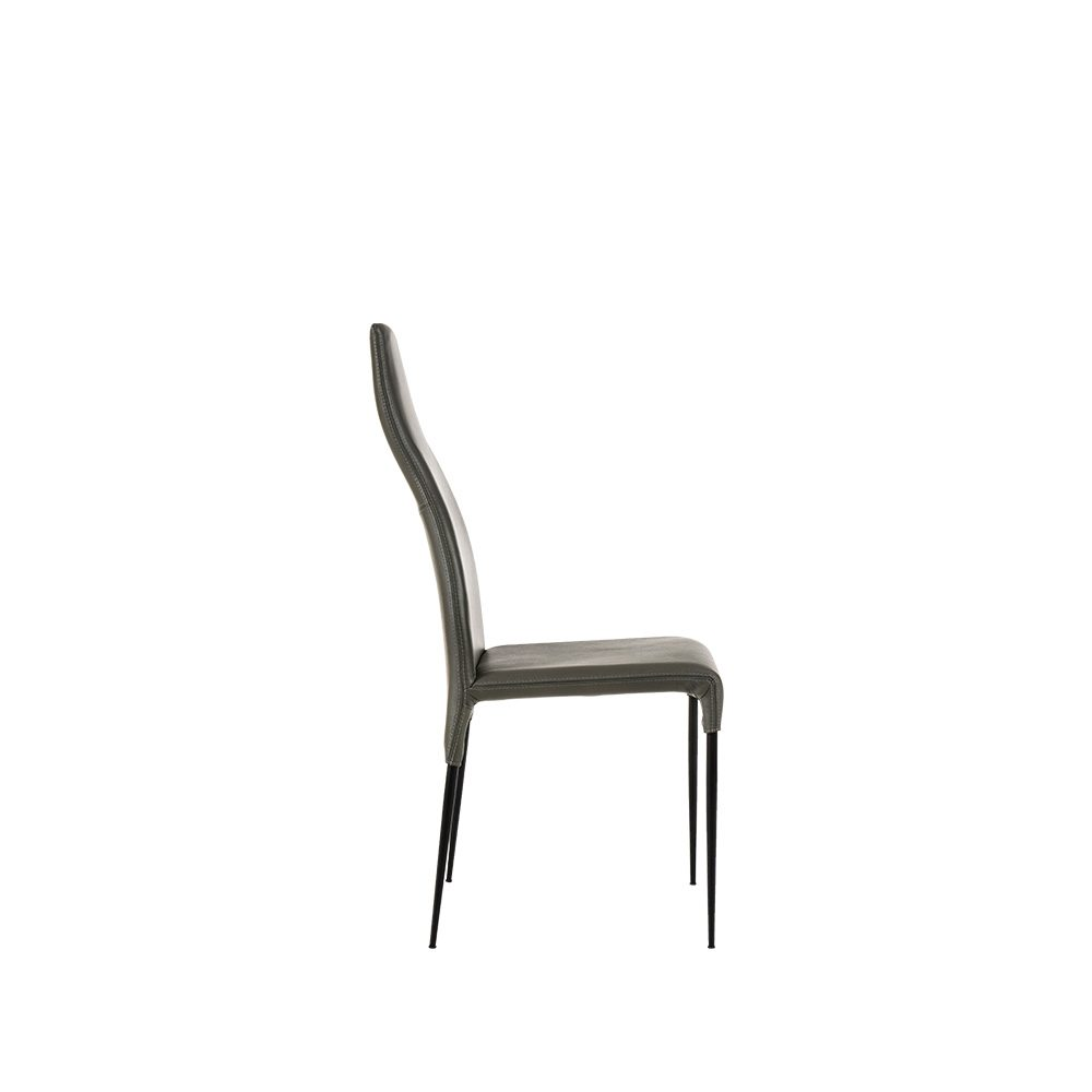 Rozel Black Grey Leather Tall Dining Chair Furniture