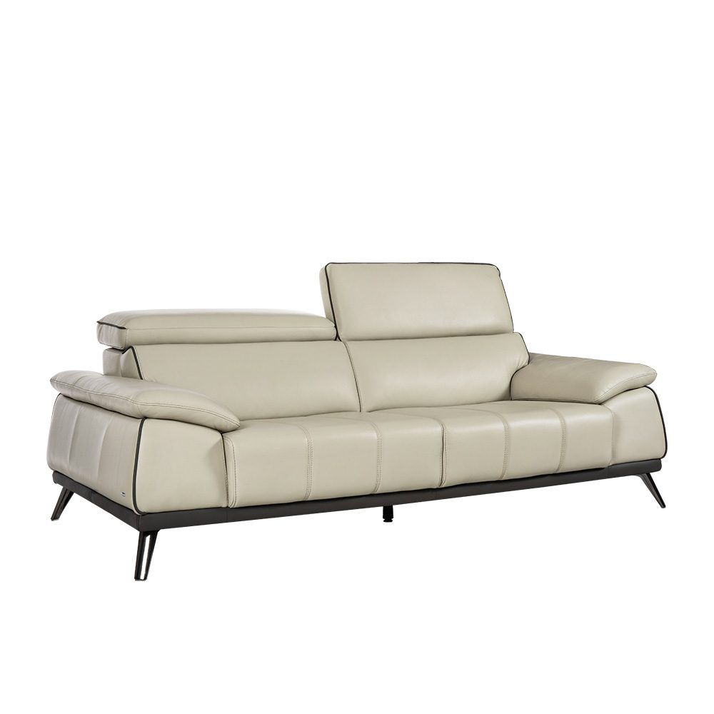 Rozel Signature Off-white Leather Sofa Living Room