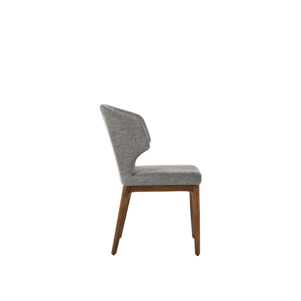 Rozel Khayu Dark Grey Fabric Dining Chair Oak
