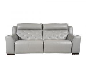 Rozel Power Recliner Light Grey Leather Sofa Living room