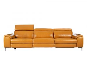 Rozel Power Recliner Mustard Yellow Leather Sofa