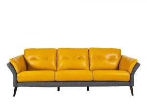 Rozel Gen-R Yellow Grey Fabric Leather Sofa Living room