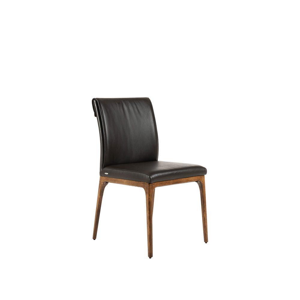 Rozel Khayu Black Leather Dining Chair Oak