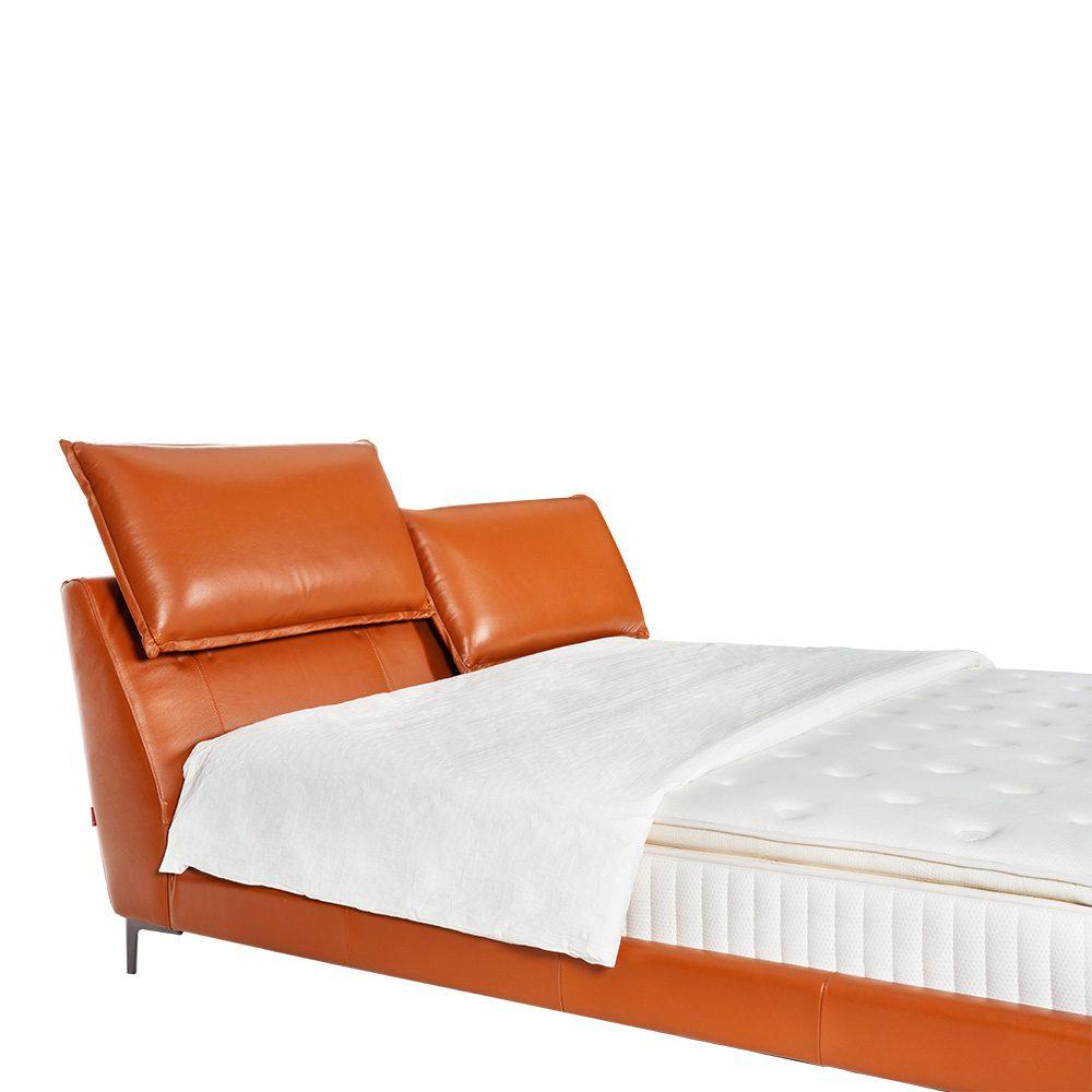 Rozel Bed Frame Orange Leather Queen Size Bedroom