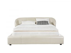 Rozel Bed Frame White Leather Queen Size Bedroom
