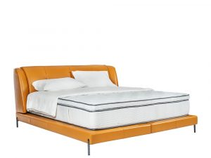 Rozel Bed Frame Orange Leather Queen Size Bedroom