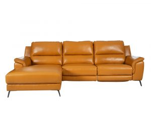 L-shape Rozel Power Recliner Mustard Brown Leather Sofa