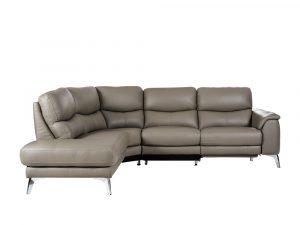 Rozel Power Recliner Stone Grey Leather Sofa Living room