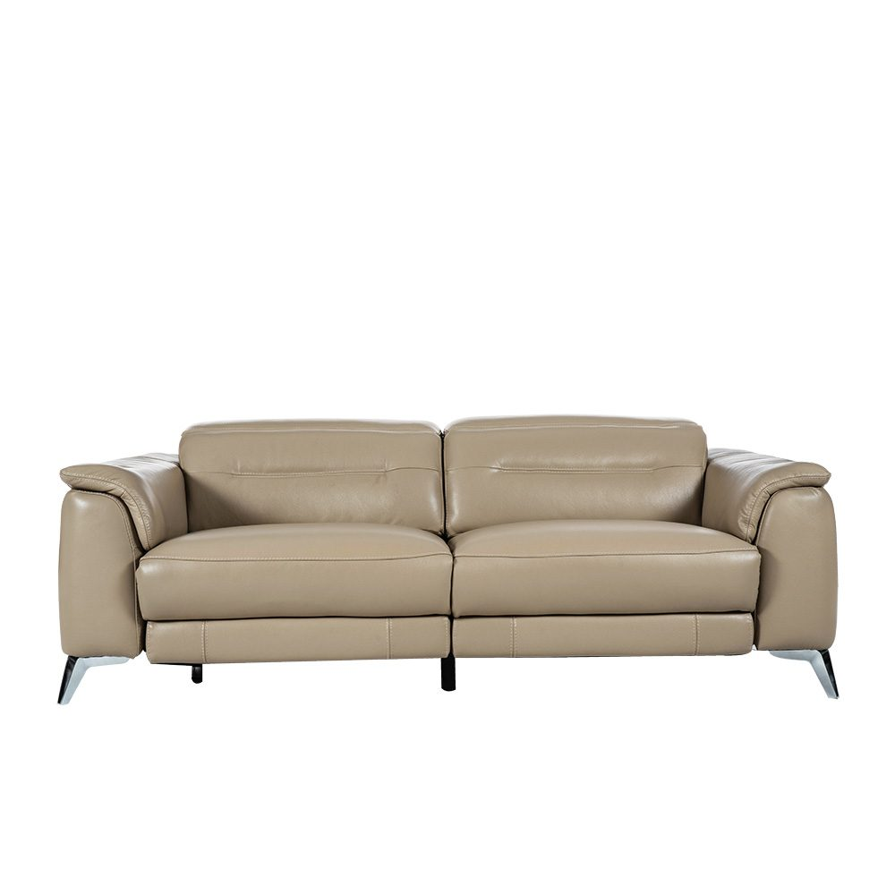 Rozel Power Recliner Silver Grey Leather Sofa Living room