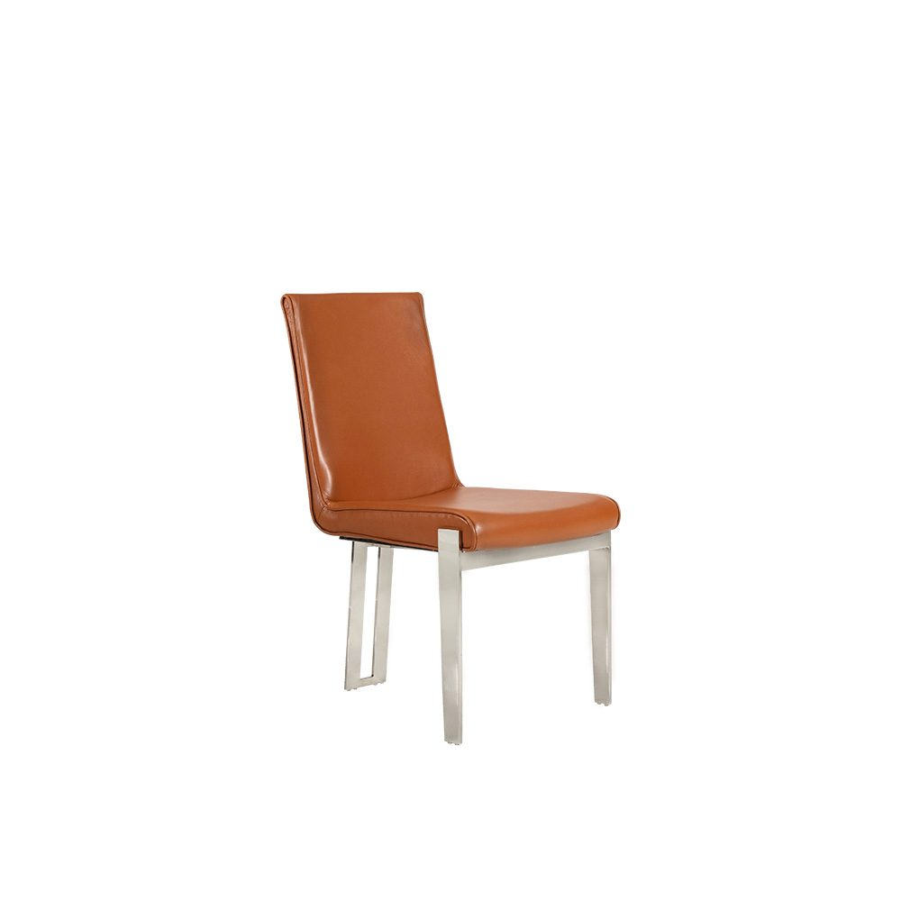 Rozel Classic Orange Leather Dining Chair furniture