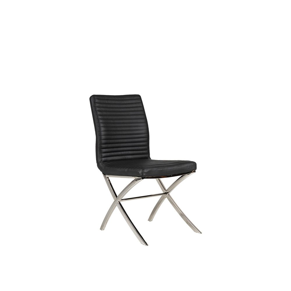 Rozel Black Classic Contemporary Leather Dining Chair