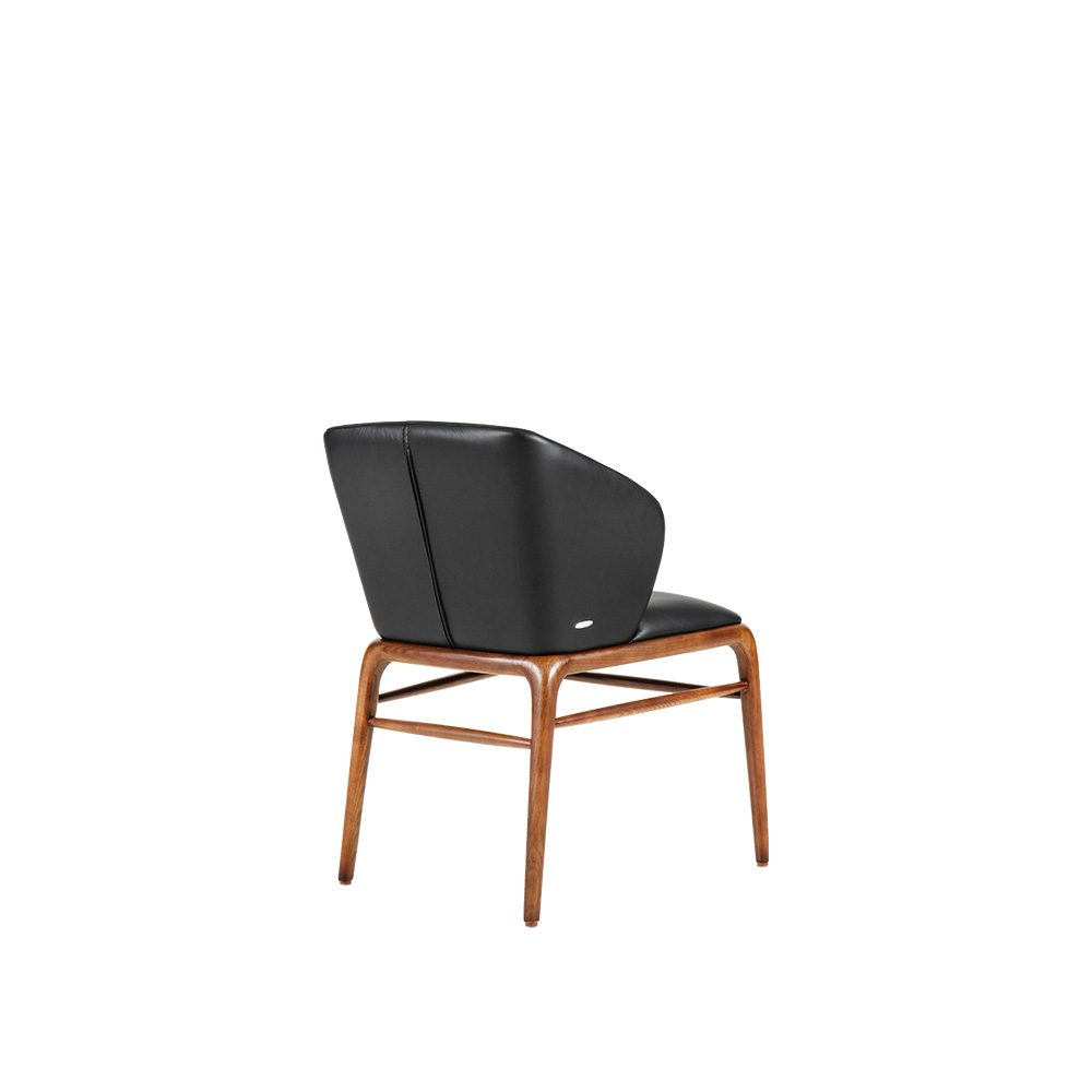 Rozel Khayu Black Leather Curved Back Dining Chair