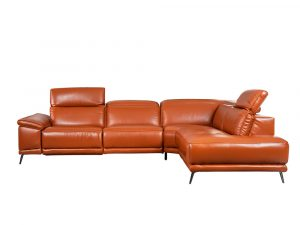 L-shape Rozel Power Recliner Brown Leather Sofa