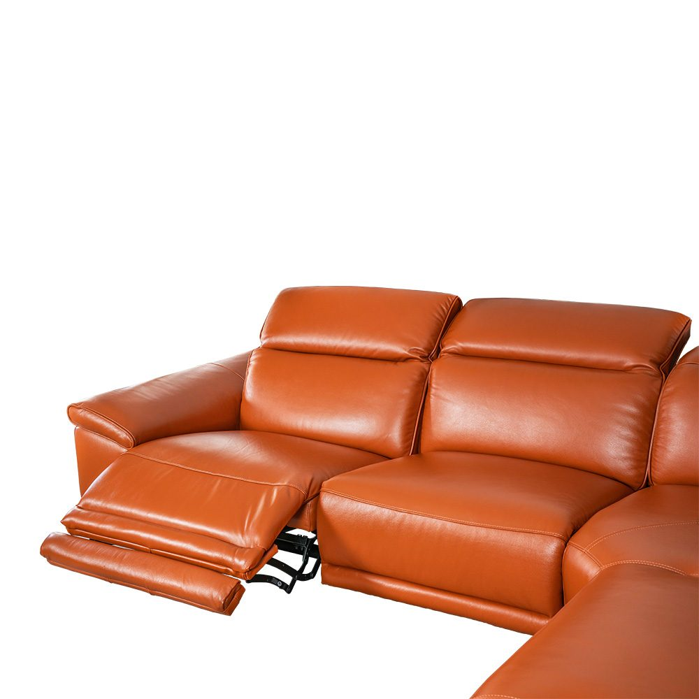 L-shape Rozel Power Recliner Brown Leather Sofa Living room