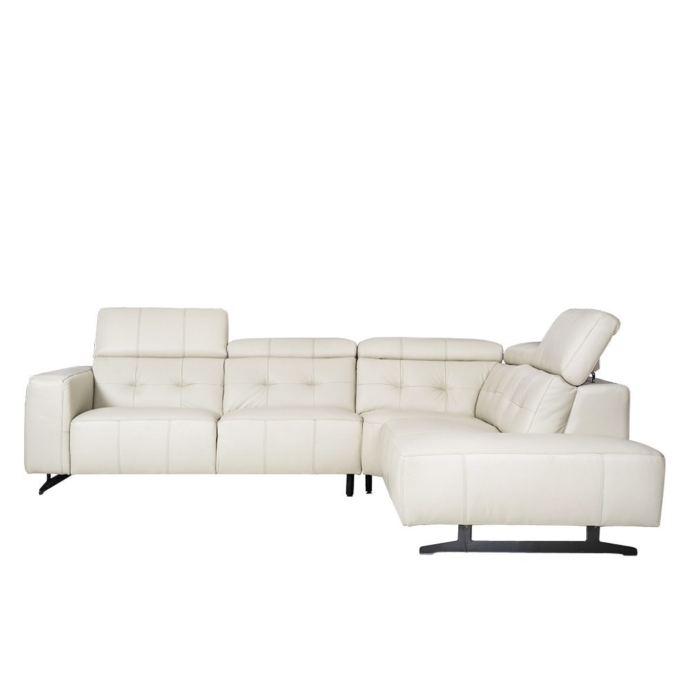 L-shape Rozel Signature White Leather Sofa