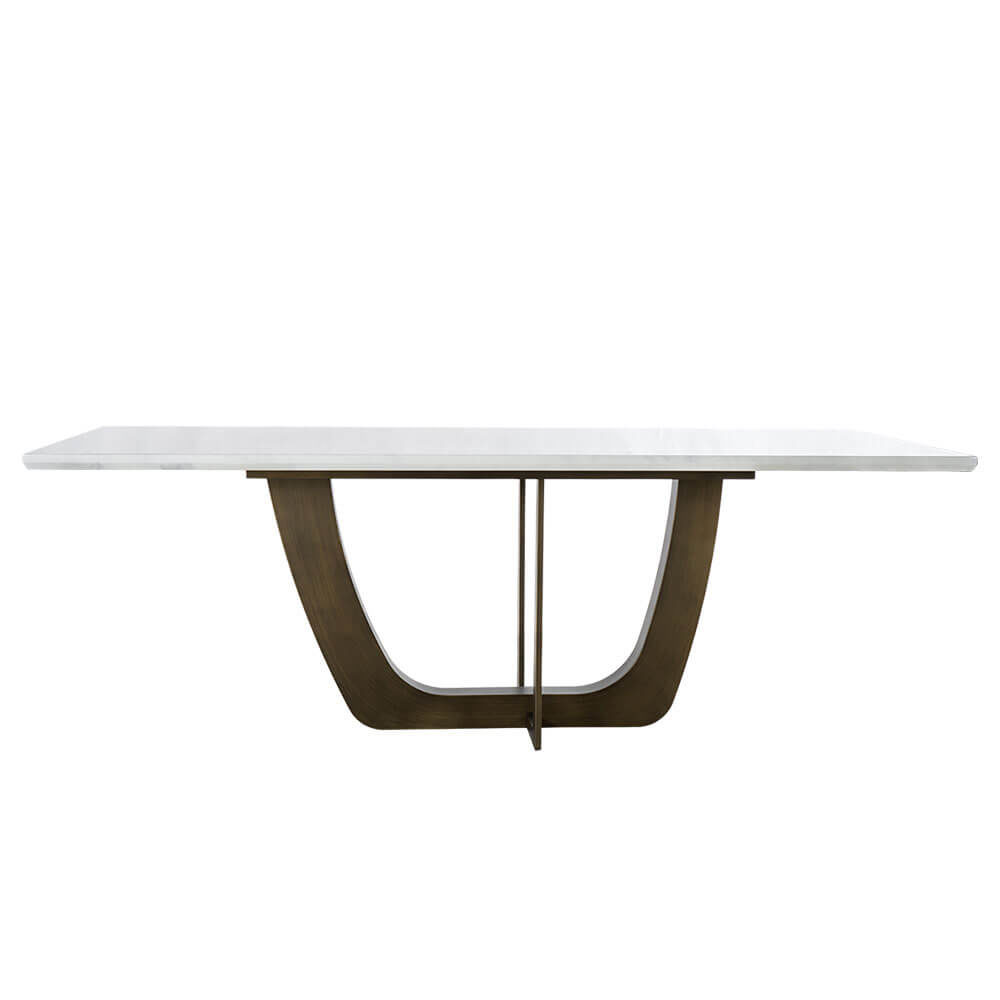 Rozel Pearl White Marble Top Dining Table Bronze Base