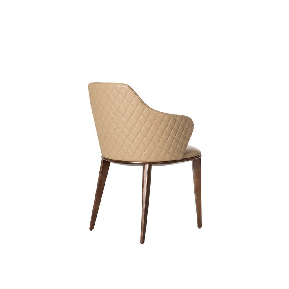 Rozel Khayu Beige PVC Dining Chair Walnut