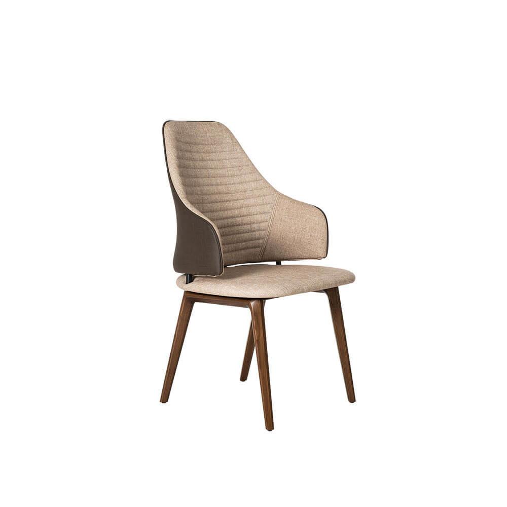 Rozel Khayu Light Dark Brown Fabric Dining Chair