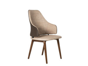 Rozel Khayu Light Dark Brown Fabric Dining Chair