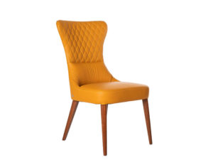 Rozel Khayu Yellow Pumpkin Leather Dining Chair Walnut
