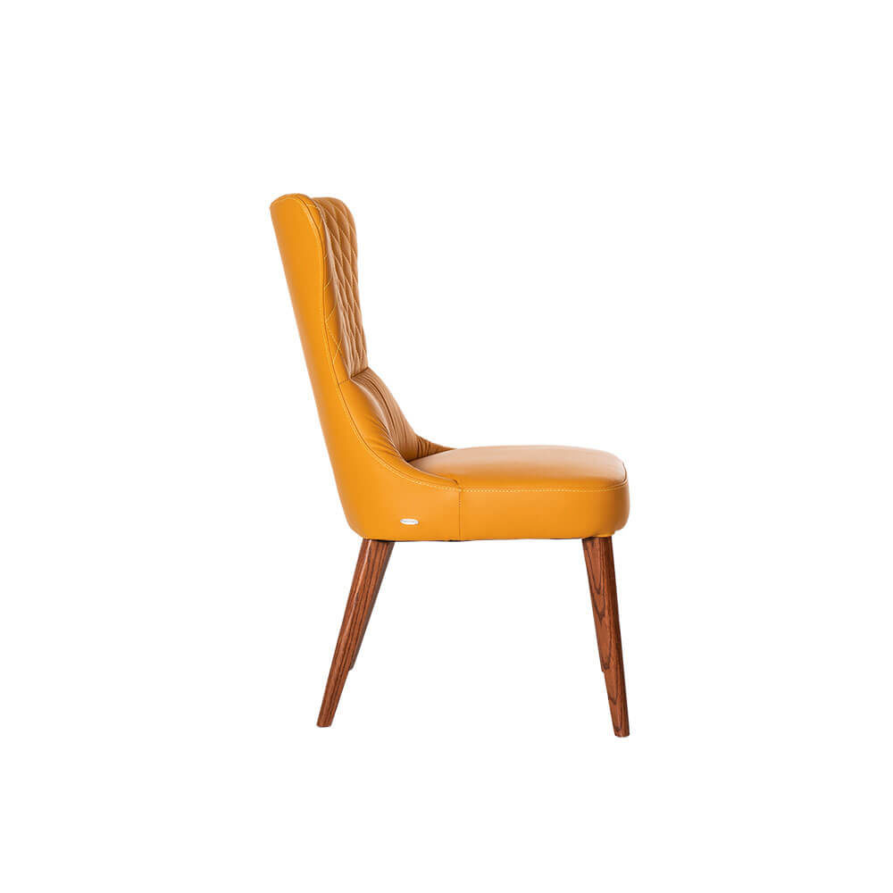 Rozel Khayu Yellow Pumpkin Leather Dining Chair