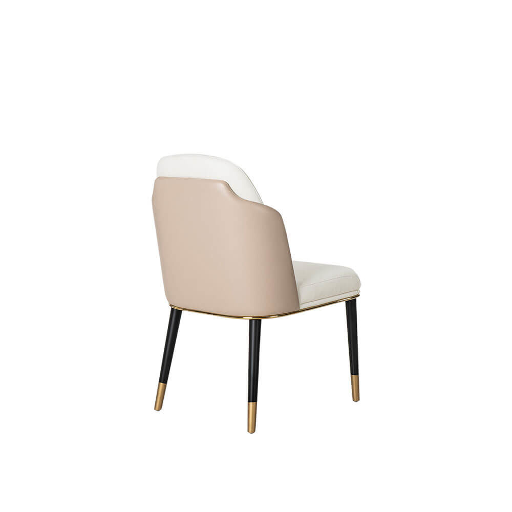 Rozel Beige Fabric PVC Dining Chair Furniture Brown Leg