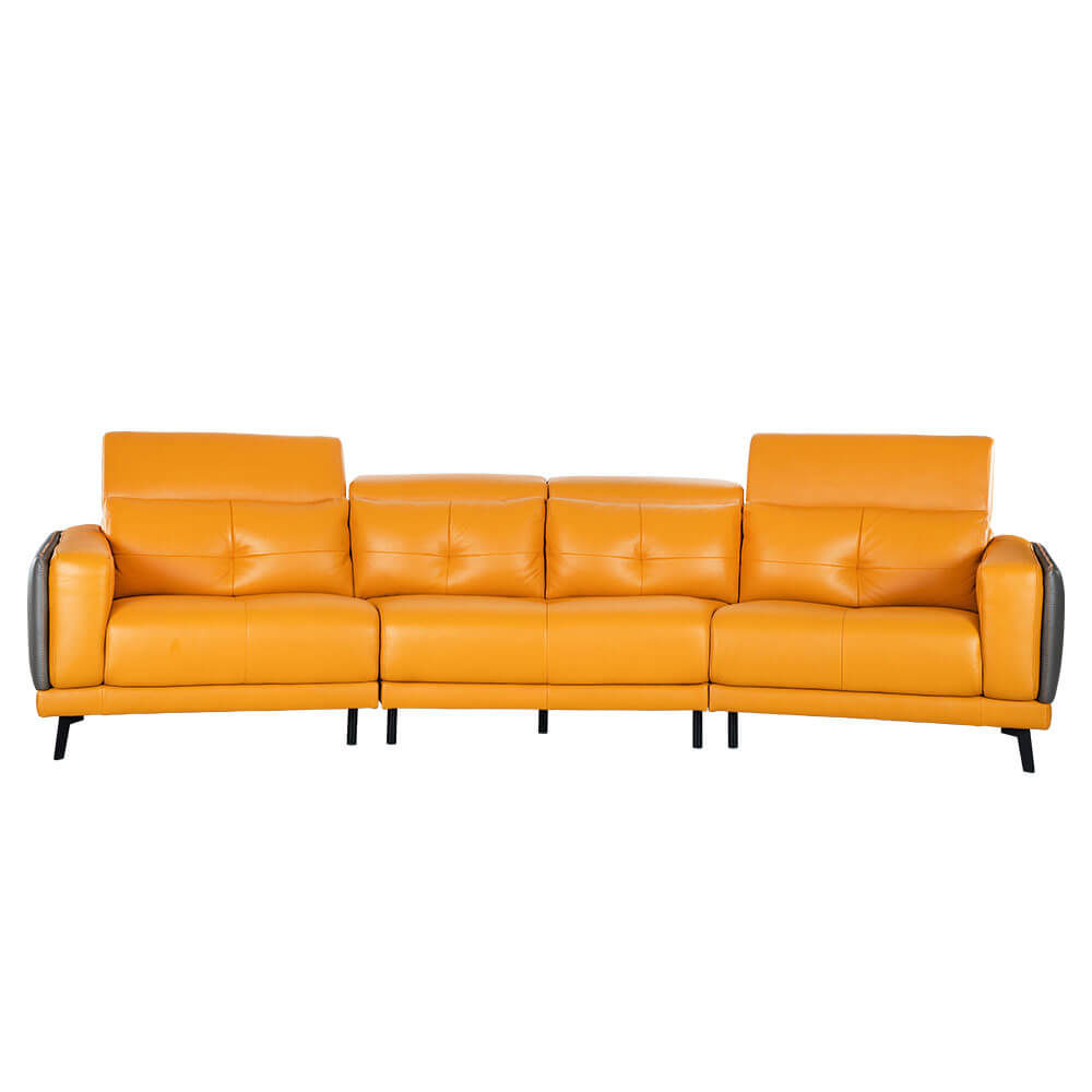 Rozel Signature Yellow Mustard Leather Sofa Living room