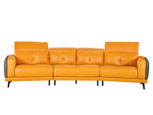 Rozel Signature Yellow Mustard Leather Sofa Living room