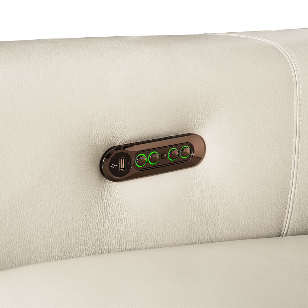 Rozel Power Recliner White Leather Sofa Living room