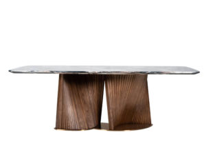 Rozel Khayu Rose Gold Marble Dining Table Top Walnut