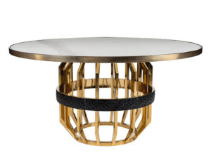 Rozel White Marble Top Champagne Titanium Gold Dining Table